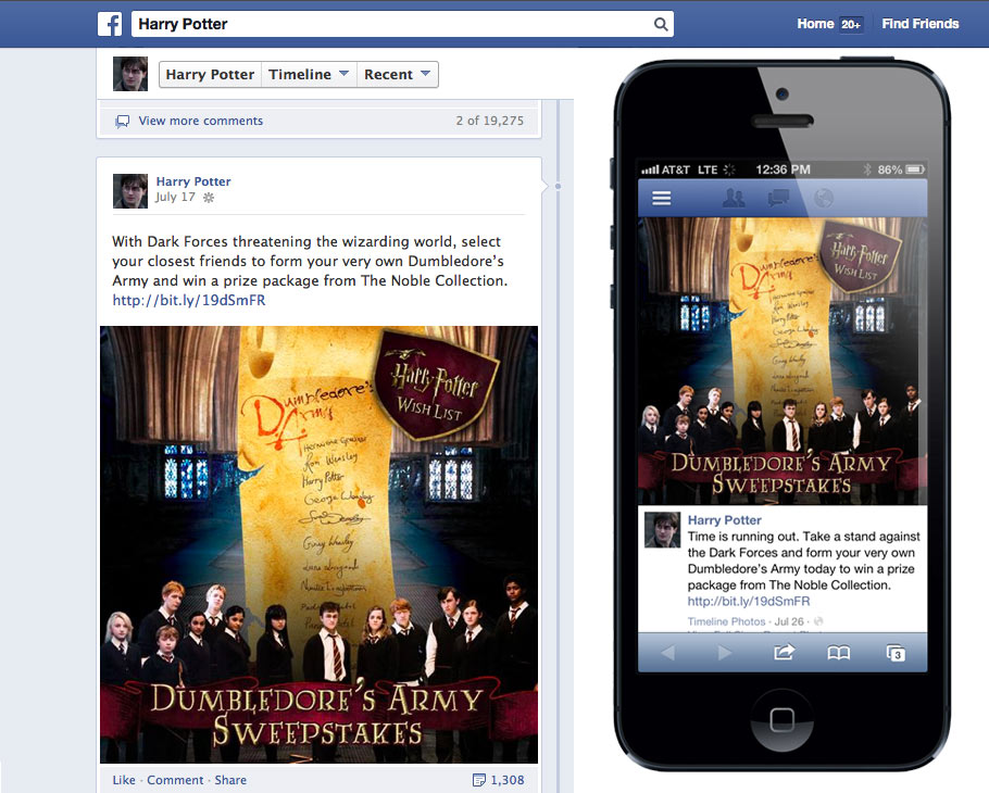 Harry Potter Dumbledore's Army Sweepstakes